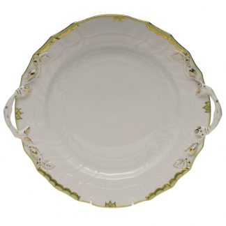 Herend Chop Plate With Handles Green