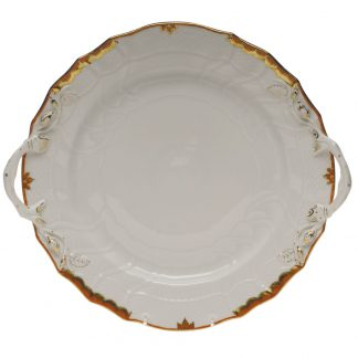 Herend Chop Plate With Handles Rust