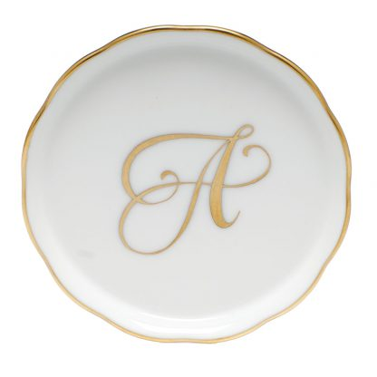 Herend Coaster With Monogram A