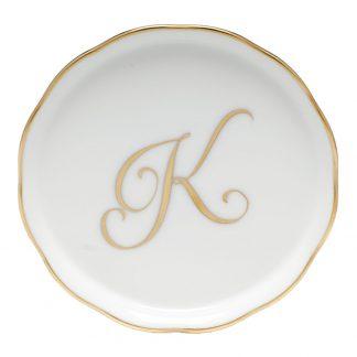 Herend Coaster With Monogram K