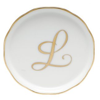 Herend Coaster With Monogram L