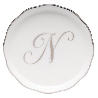 Herend Coaster With Monogram N