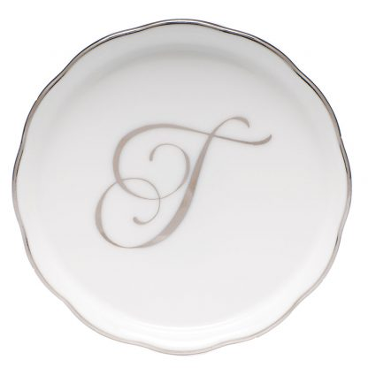Herend Coaster With Monogram T