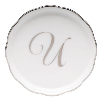 Herend Coaster With Monogram U
