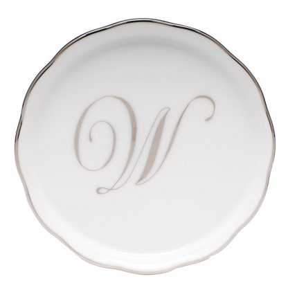 Herend Coaster With Monogram W