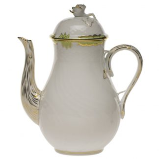 Herend Coffee Pot With Rose Green
