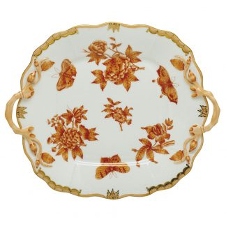 Herend Fortuna Rust Square Cake Plate With Handles