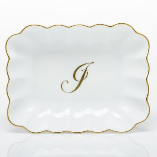 Herend Oblong Dish With Monogram  J