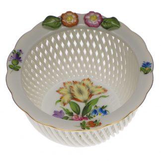 Herend Openwork Basket With Flowers