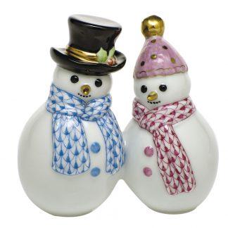 Herend Porcelain Figurines Snowman Couple