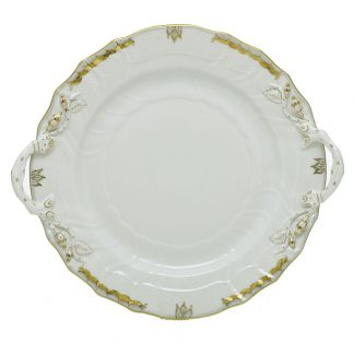 Herend Princess Victoria Gray Chop Plate With Handles