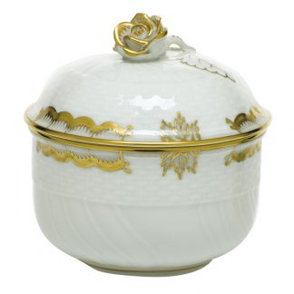 Herend Princess Victoria Gray Covered Sugar With Rose