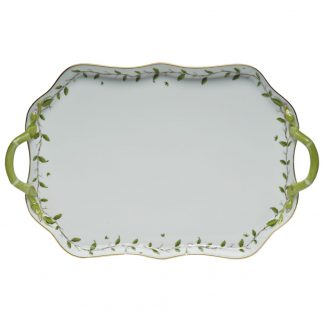 Herend Rectangular Tray With Branch Handles