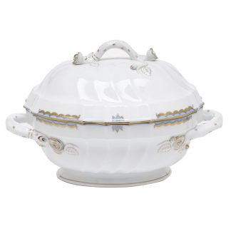Herend Soup Tureen With Branch - Light Blue