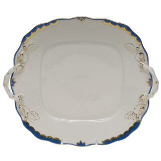 Herend Square Cake Plate With Handles Blue