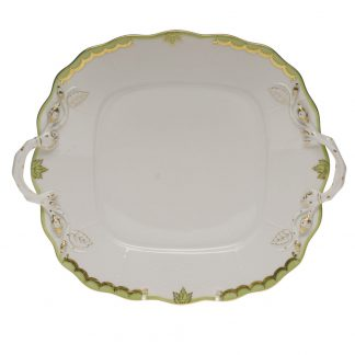 Herend Square Cake Plate With Handles Green