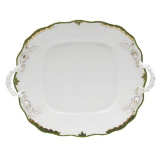 Herend Square Plate With Handles Green