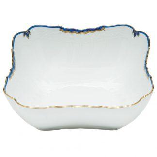 Herend Square Salad Bowl Blue