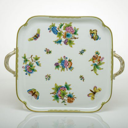 Herend Square Tray With Handles