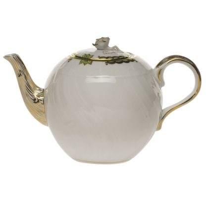 Herend Tea Pot With Rose Green