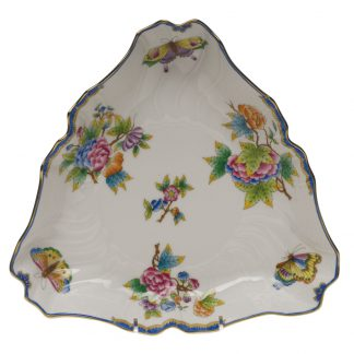 Herend Triangle Dish Blue