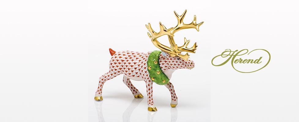 Herend reindeer figurine in rust fishnet