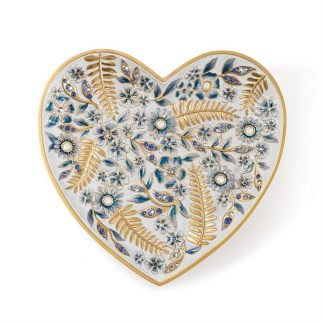 Jay Strongwater Aria Floral Heart Trinket Tray