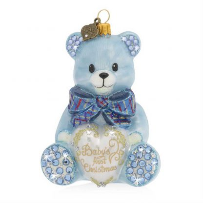 Jay Strongwater Baby's First Christmas Teddy Glass Ornament