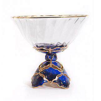 Jay Strongwater Beau Pedestal Bowl - Sapphire