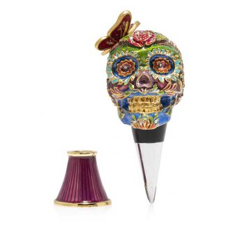 Jay Strongwater Brocade Calavera Skull Wine Stopper And Stand
