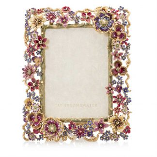 """Jay Strongwater Brocade Ophelia Floral Cluster 5"""" X 7"""" Frame"""
