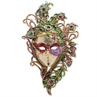 Jay Strongwater Brocade Venetian Mask With Stand