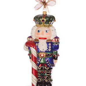 Jay Strongwater Candy Cane Nutcracker Glass Ornament - Jewel