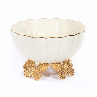 Jay Strongwater Catalina Porcelain Fluted Butterfly Bowl - Gold