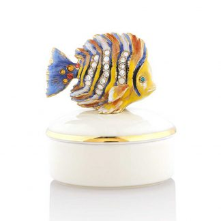 Jay Strongwater Coastal Finley Fish Round Porcelain Box