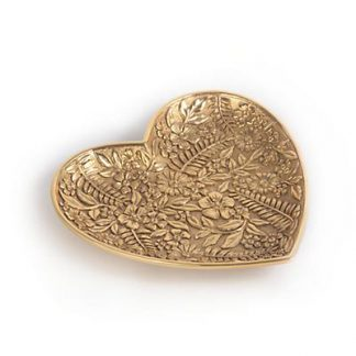 Jay Strongwater Colleen Floral Heart Trinket Tray - Gold