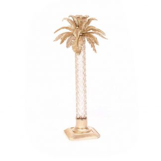 Jay Strongwater Composition Delmont Palm Leaf Gilded Glass Candlestick- Gold