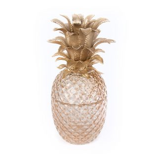 Jay Strongwater Composition Giselle Pineapple Gilded Glass Jar- Gold