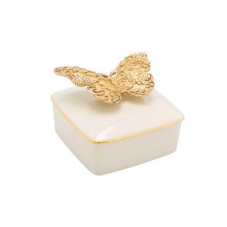 Jay Strongwater Composition Liz Gilded Butterfly Porcelain Box
