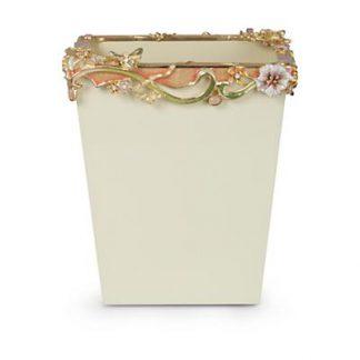 Jay Strongwater Devon Floral Scroll Wastebasket - Boudoir