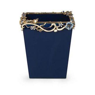 Jay Strongwater Devon Floral Scroll Wastebasket - Delft Garden