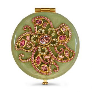 Jay Strongwater Elizabeth Flower Jeweled Compact - Rose Celadon