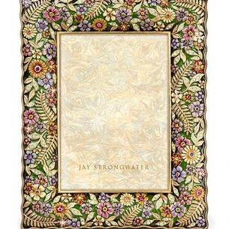 """Jay Strongwater Florence Ruffle Edge Floral 5"""" x 7"""" Frame - Flora"""