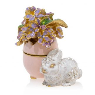 Jay Strongwater Floret - Lilac Egg Bunny Box