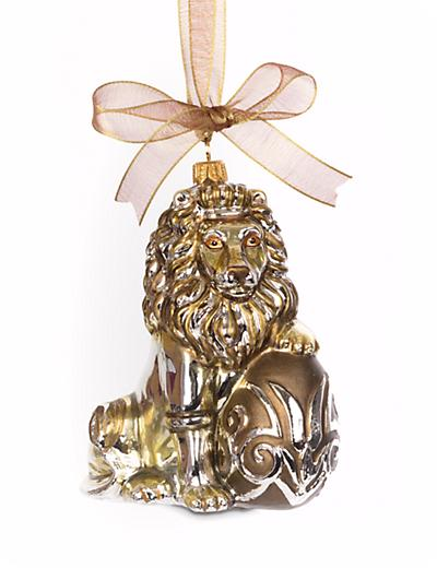 Jay Strongwater Gilded Lion With Egg Glass Ornament Gold