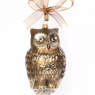 Jay Strongwater Gilded Owl Glass Ornament - Gold