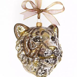Jay Strongwater Gilded Tiger Head Glass Ornament - Gold