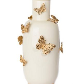 Jay Strongwater Heather Porcelain Rounded Butterfly Vase - Gold