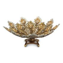 Jay Strongwater Hera Peacock Feather Bowl Golden