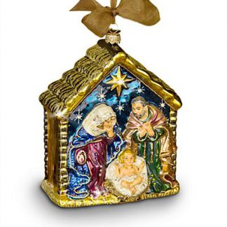 Jay Strongwater Holy Family Glass Ornament - Jewel